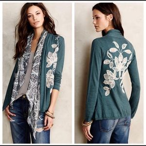 Anthro Knitted & Knotted Morning Petals Cardigan